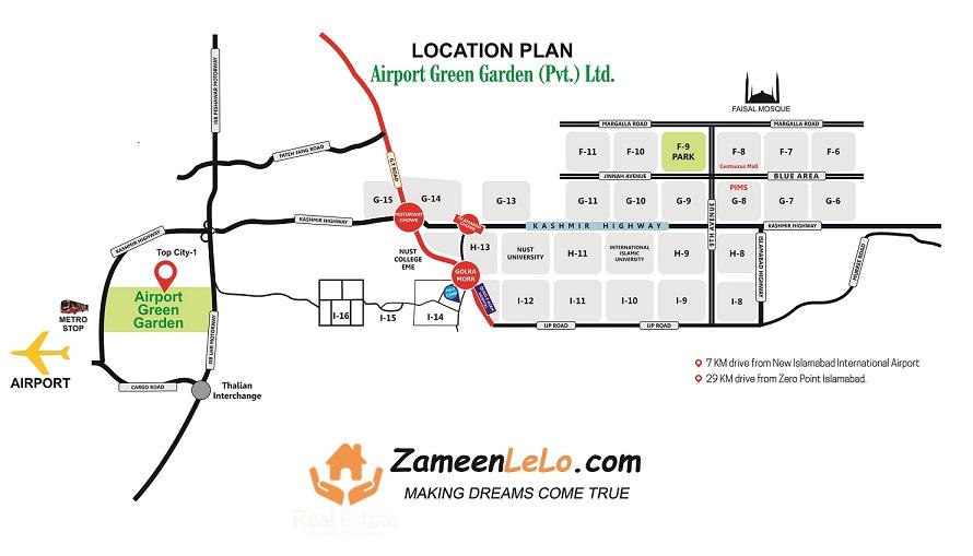 Airport Green Garden Location Map