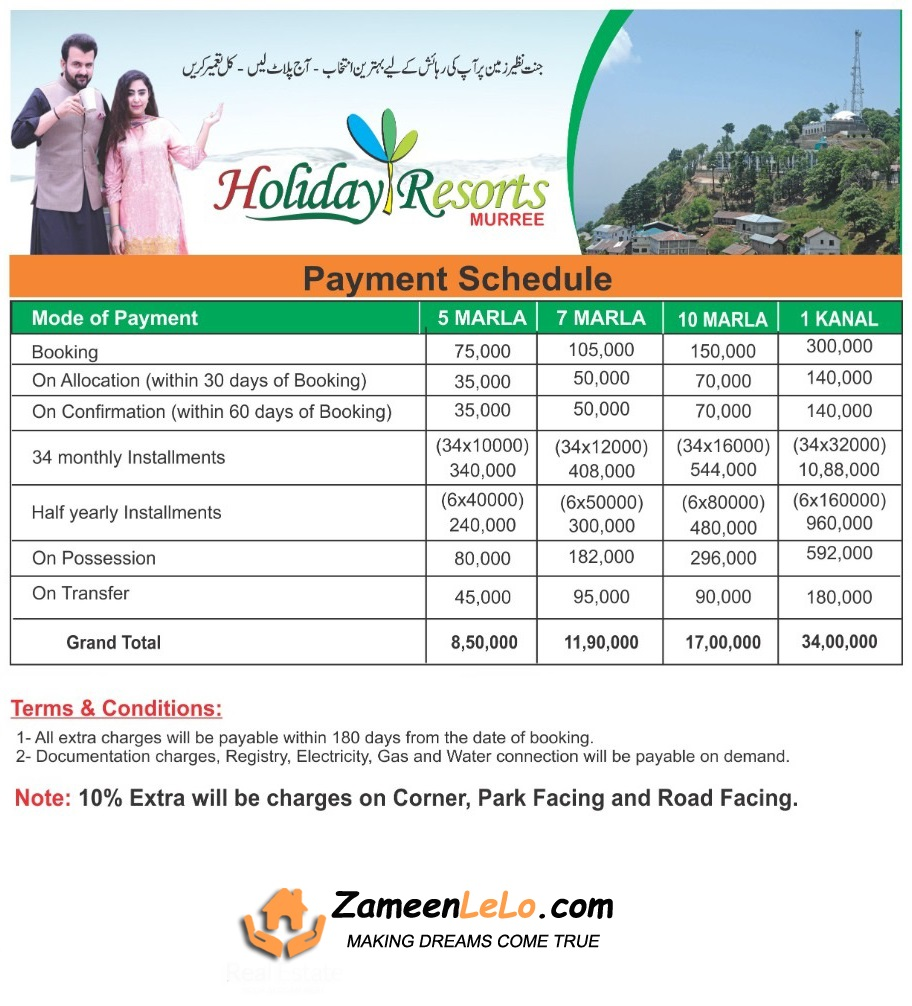 Holiday-Resorts-Murree-Payment-Plan