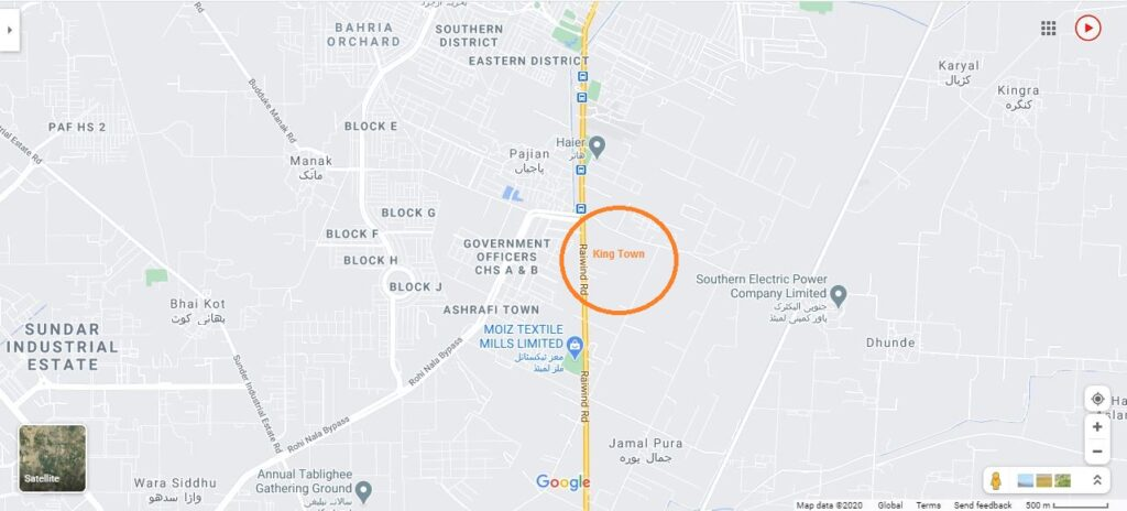 Kings-Town-Lahore-Location-Map