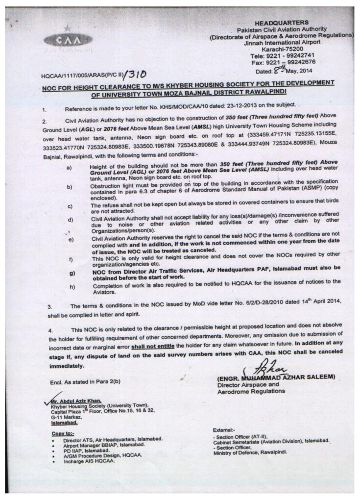 NOC approved by Civil Aviation Authorities (CAA) for university town