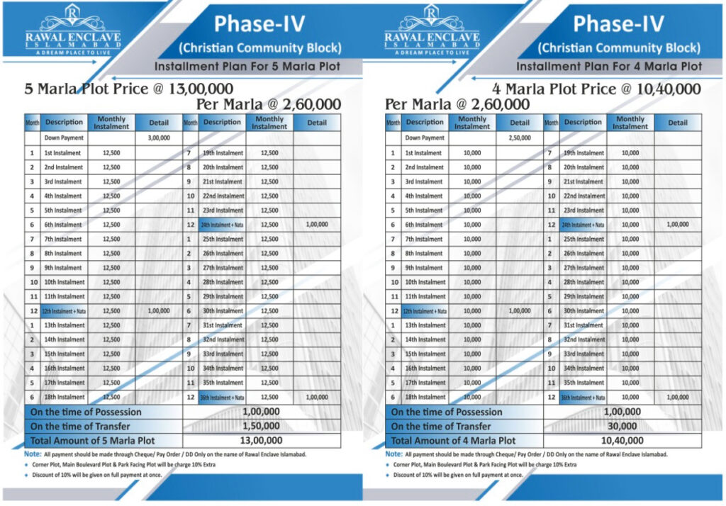 Payment-Plan-Rawal-Enclave-Phase-4-Islamabad