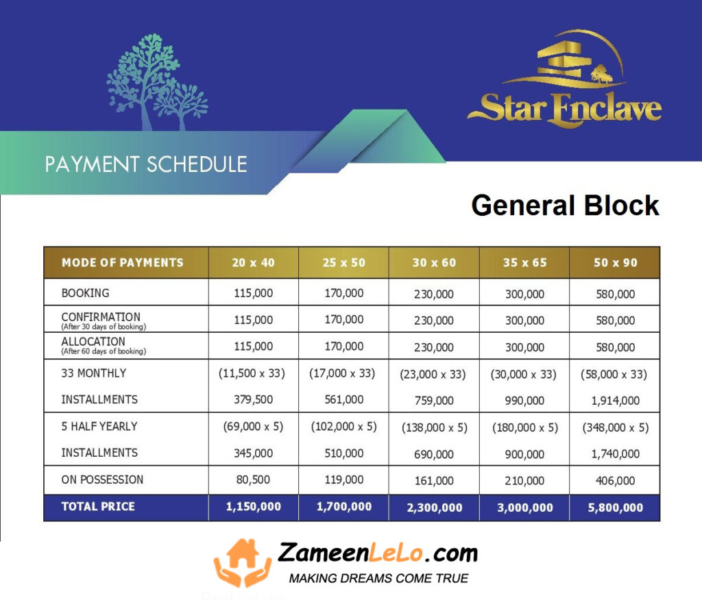Star Enclave islamabad General Block Payment Plan