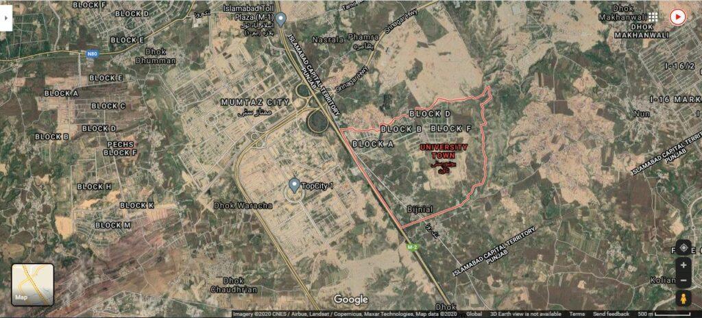 University town Islamabad google location ma