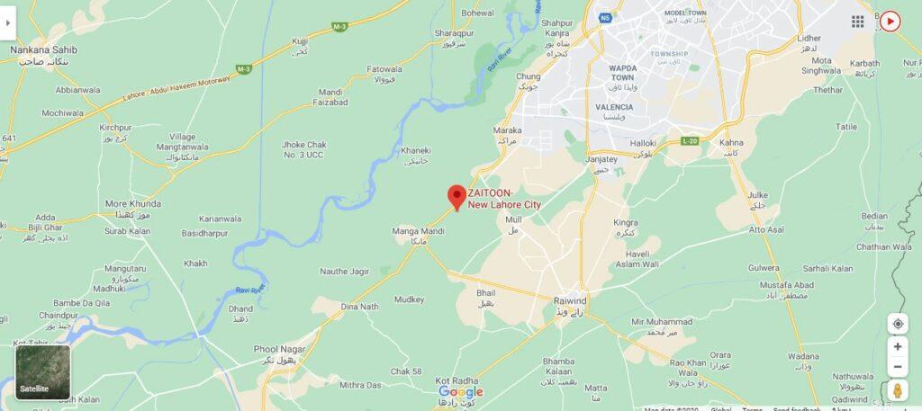 Zaitoon City Lahore Location Map