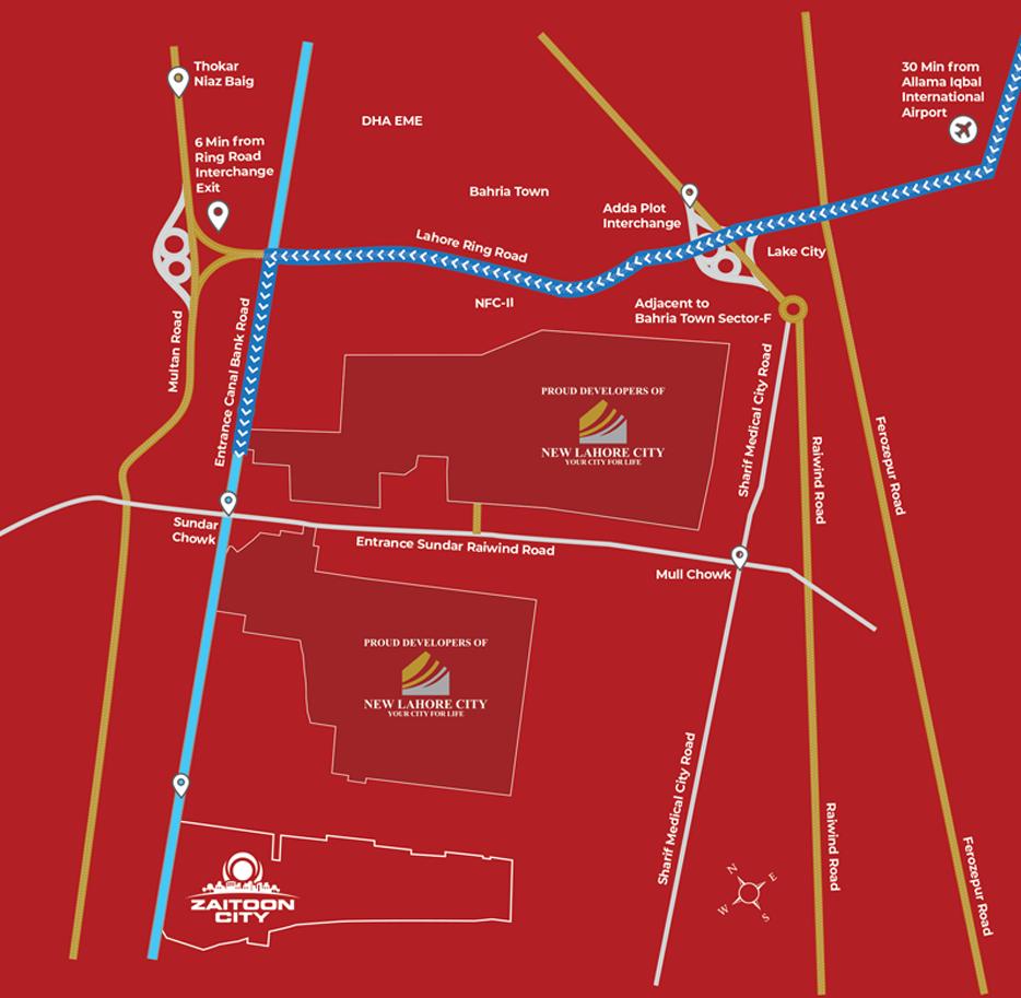 zaitoon-city-Lahore-Location-Map