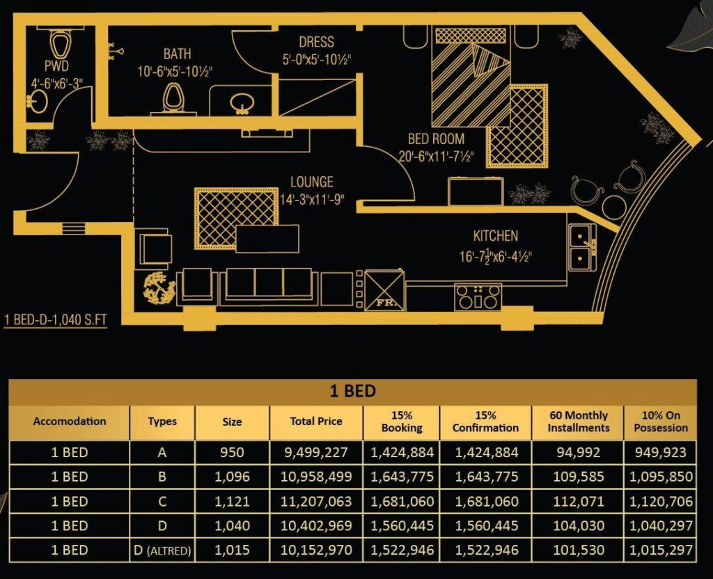 1-Bed-apartment-Layout-and-payment-plan-Vone-Hotel-and-Apartments-islamabad