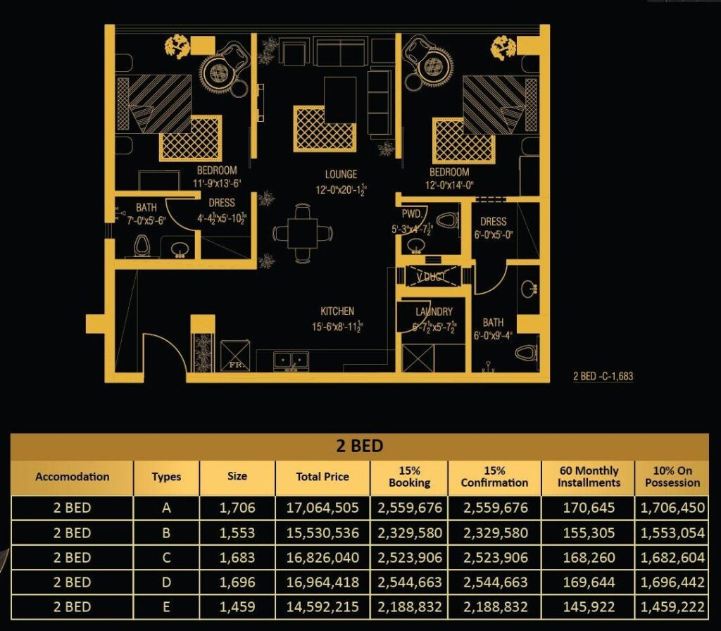 2-Bed-apartment-Layout-and-payment-plan-Vone-Hotel-and-Apartments-islamabad