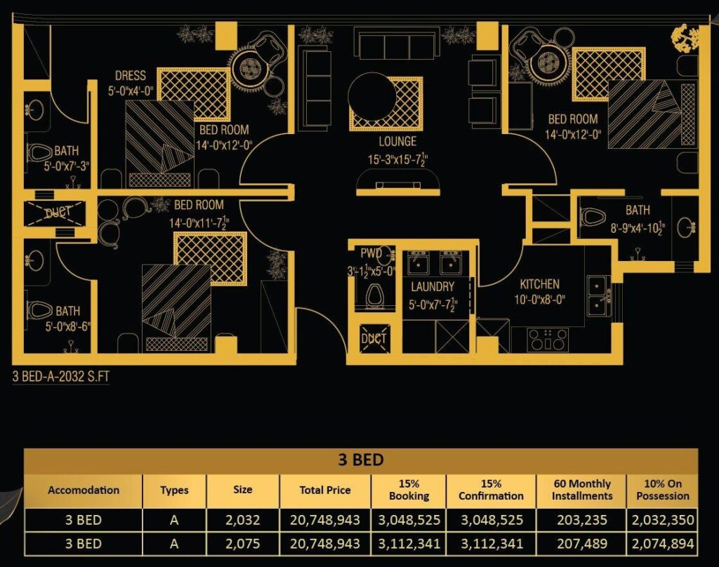 3-Bed-apartment-layout-and-payment-plan-Vone-Hotel-and-Apartments-islamabad