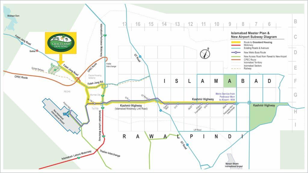 Graceland Housing Society Islamabad Location Map