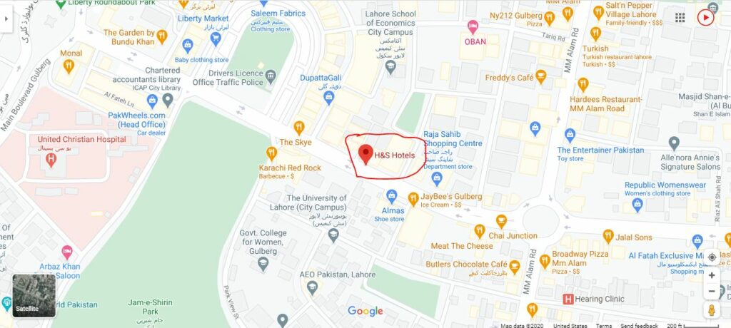 H&S Hotels Lahore map