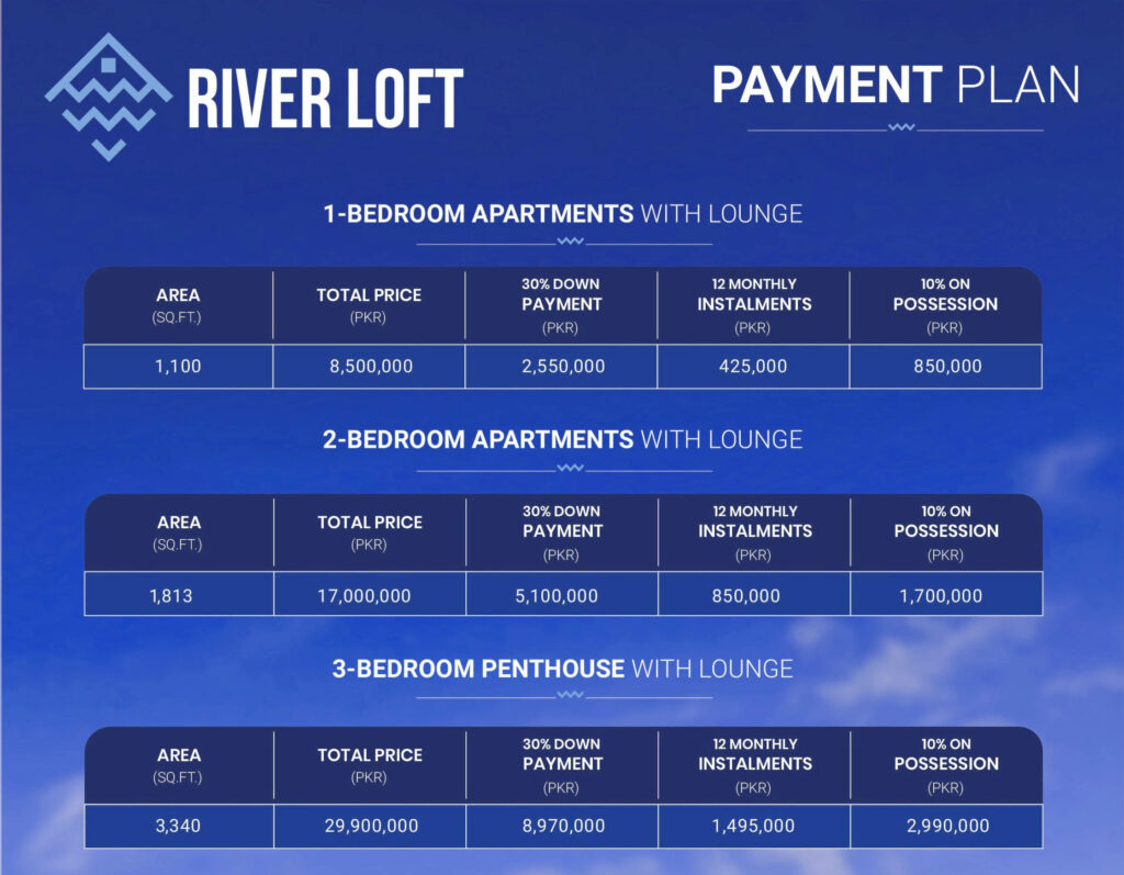 River Loft islamabad payment plan and price