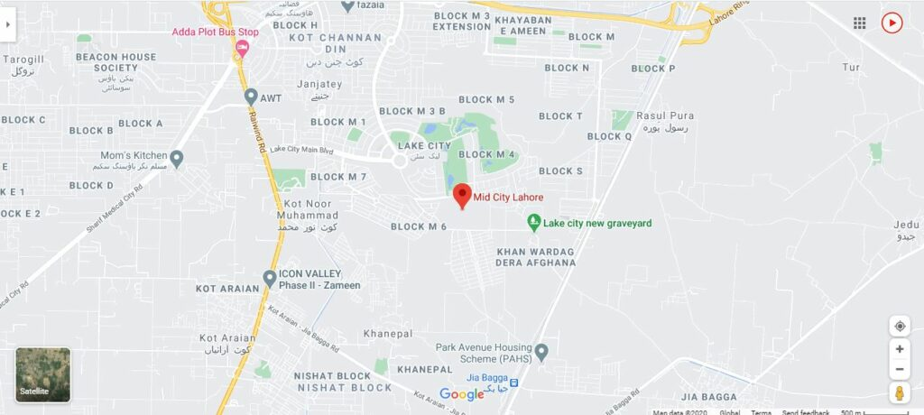 mid-city-lahore-Location-map