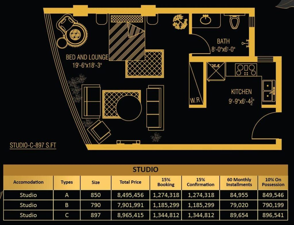 studio-apartments-layout-and-payment-plan-Vone-Hotel-and-Apartments-islamabad
