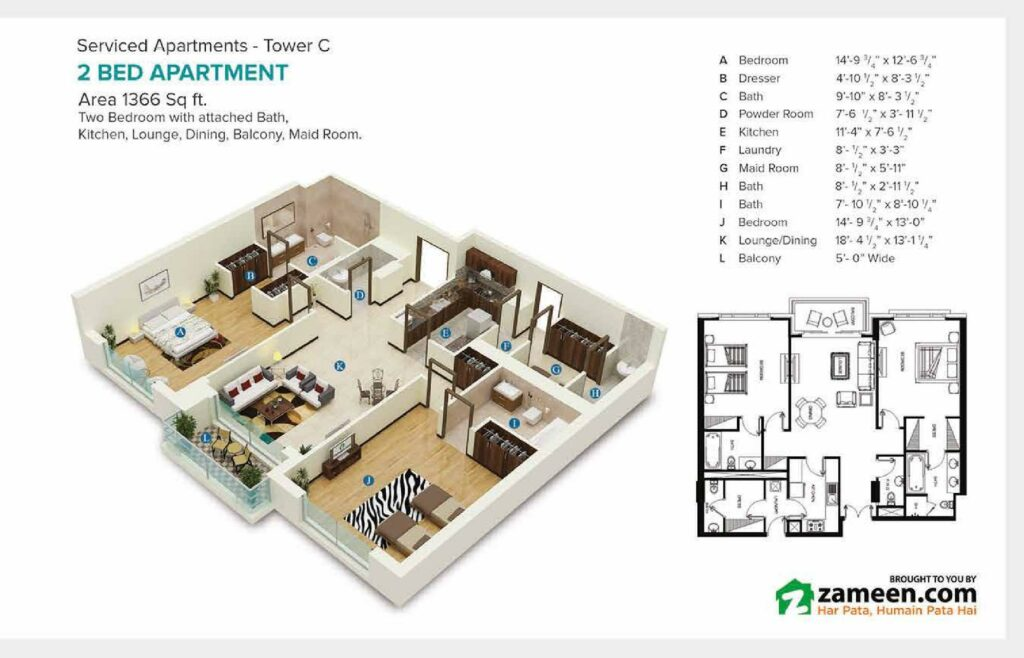 1366 sqft one bed apartment Layout Map Pace Circle Lahore