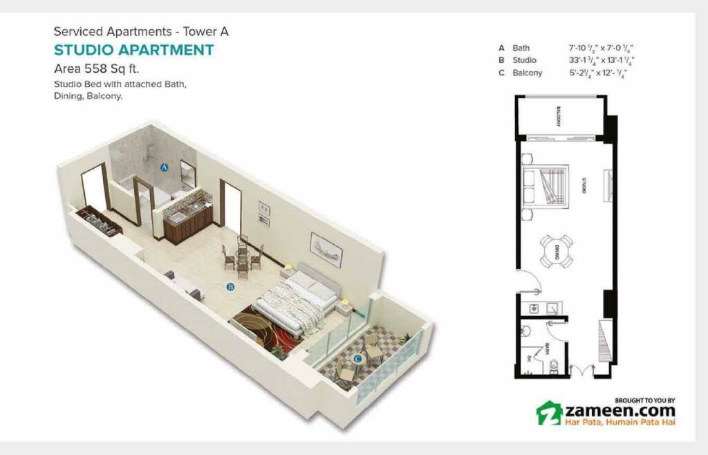 558-sqft-studio-apartment-Layout-Map-Pace-Circle-Lahore