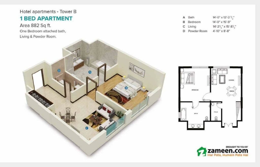 882-sqft-one-bed-apartment-Layout-Map-Pace-Circle-Lahore