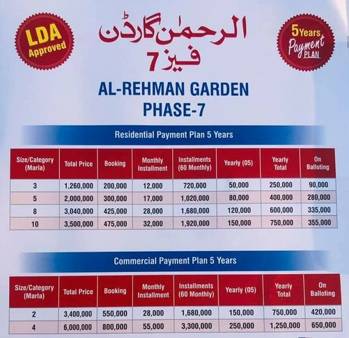 Al-Rehman-Garden-Phase-7-payment-and-Installment-plan