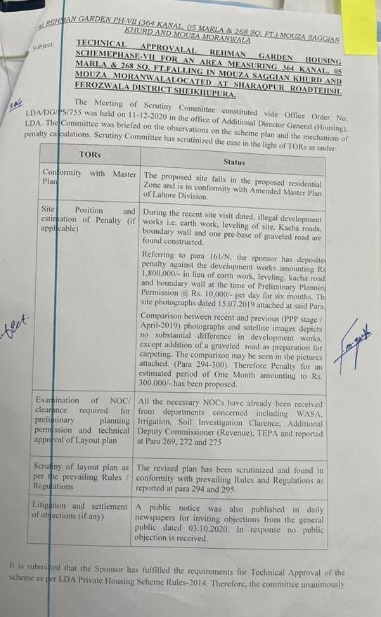 LDA-Aproved-NOC-Al-Rehman-Garden-phase-7-Lahore