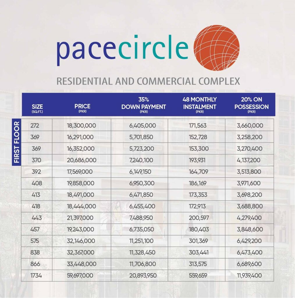 Pace-circle-First-Floor-Payment-Plan-and-Price