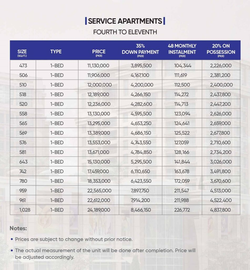 Pace-circle-service-apartment-4th-to-11th-Floor-Payment-Plan-and-Price