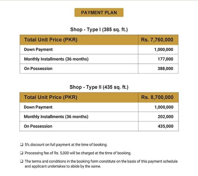 Paragon-Towers-Karachi-shops-Payment-Plan-and-Price