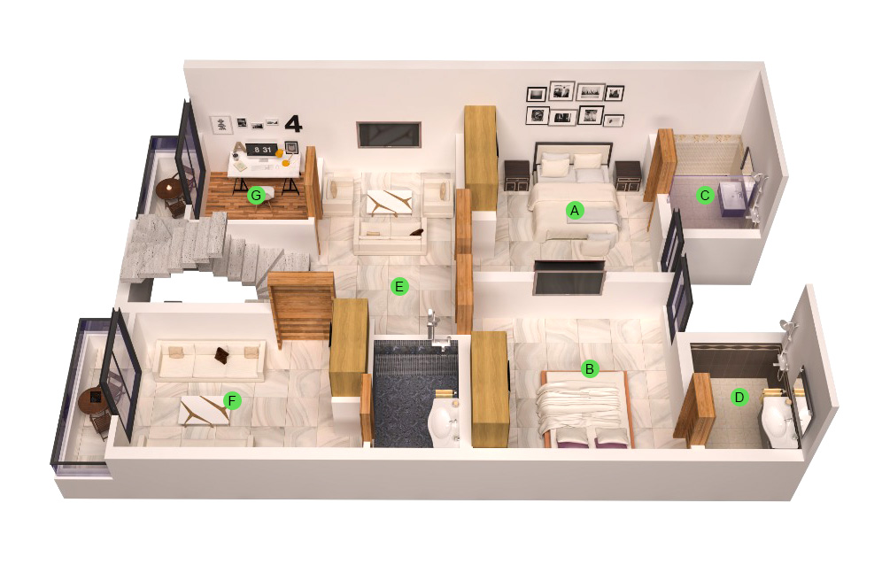 2-bedroom-First-Floor-984-SQ.-FT-layout-map-Icon-Homes