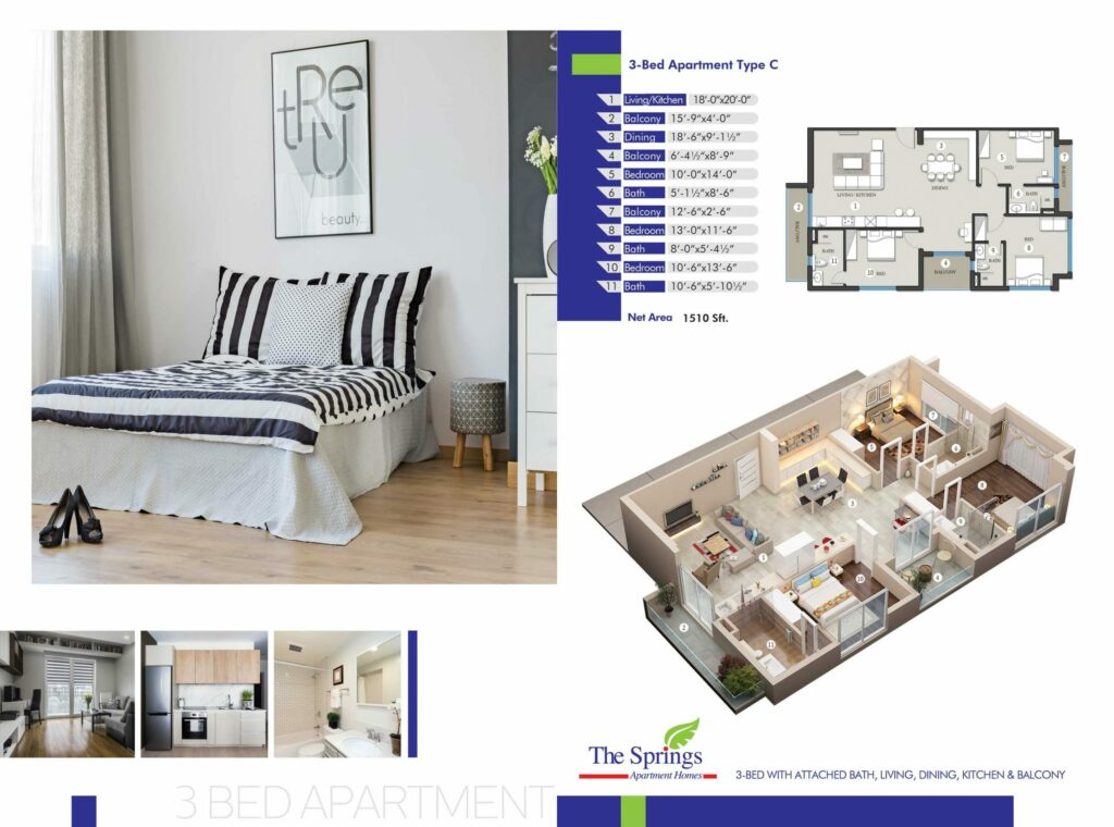 3-Bed-Apartment-layout-plan-map-The-Springs-Apartment-Gulberg-Lahore