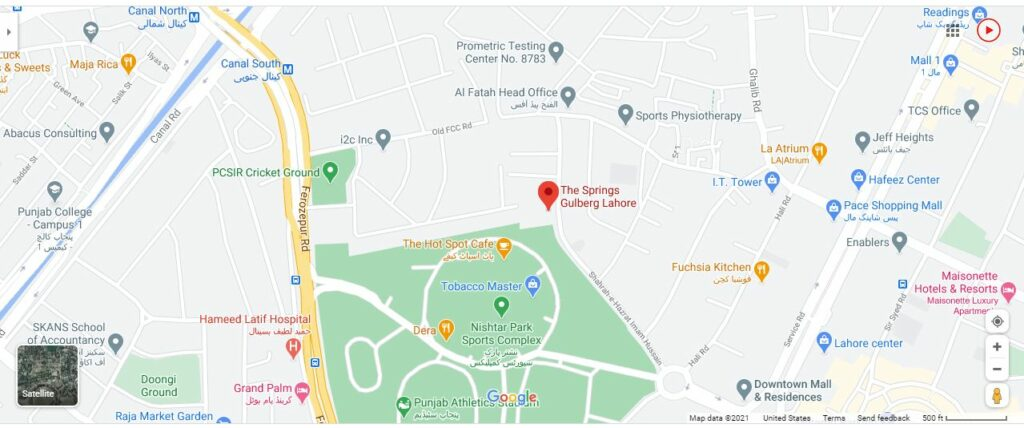 Location-map-The-Springs-Apartment-Gulberg-Lahore