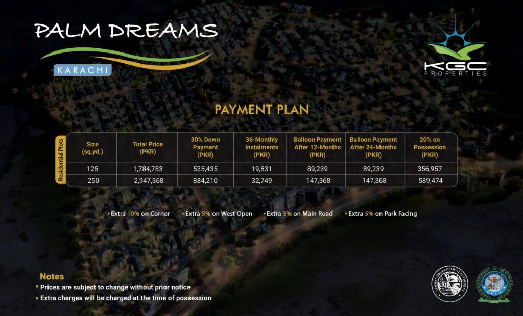 Palm Dreams Karachi payment plan and price