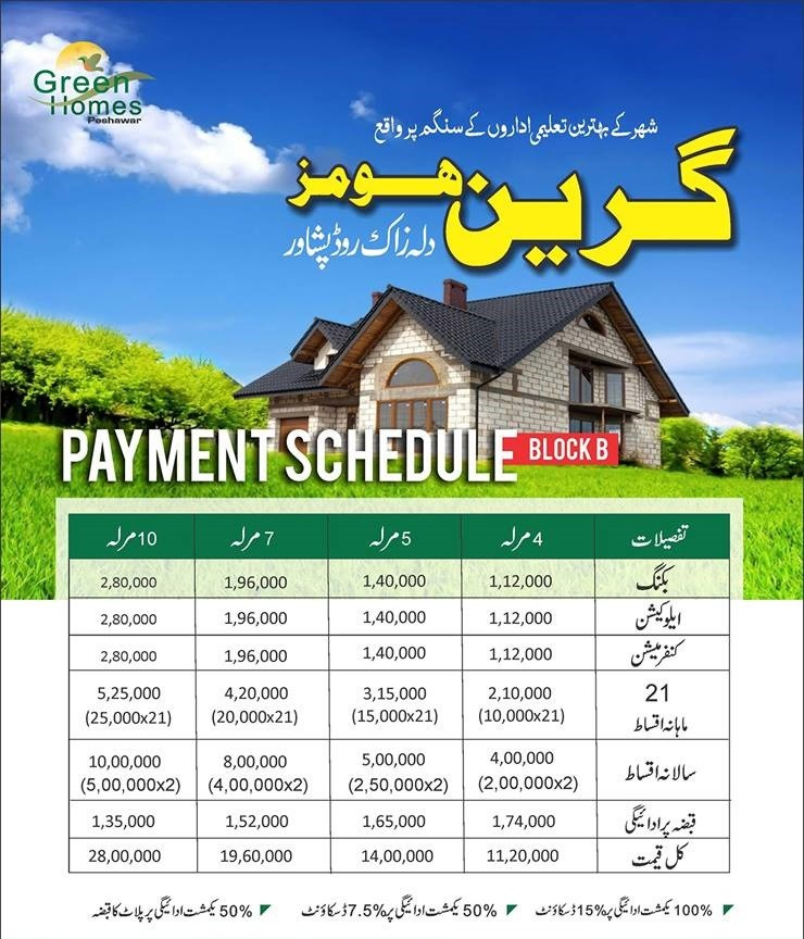 Payment-Plan-and-Price-Green-Homes-Peshawar