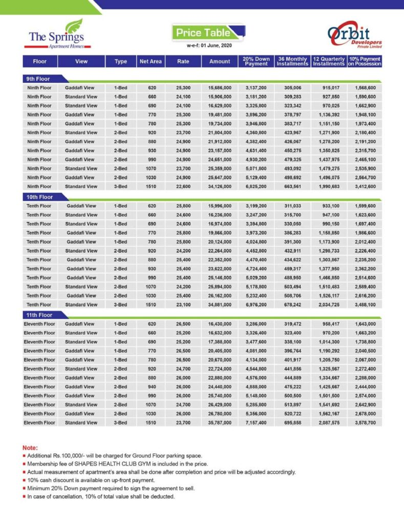 Payment-plan-and-price-The-Springs-Apartment-Gulberg-Lahore-3