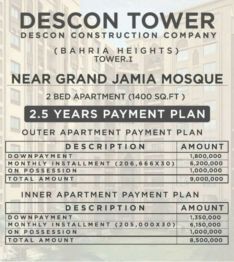 ayment-Plan-and-price-DESCON-Towers-Bahria-Town-Karachi
