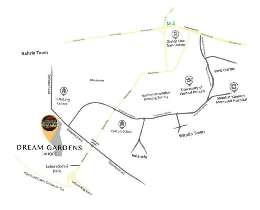 Location-Map-Dream-Gardens-Lahore-Phase-2