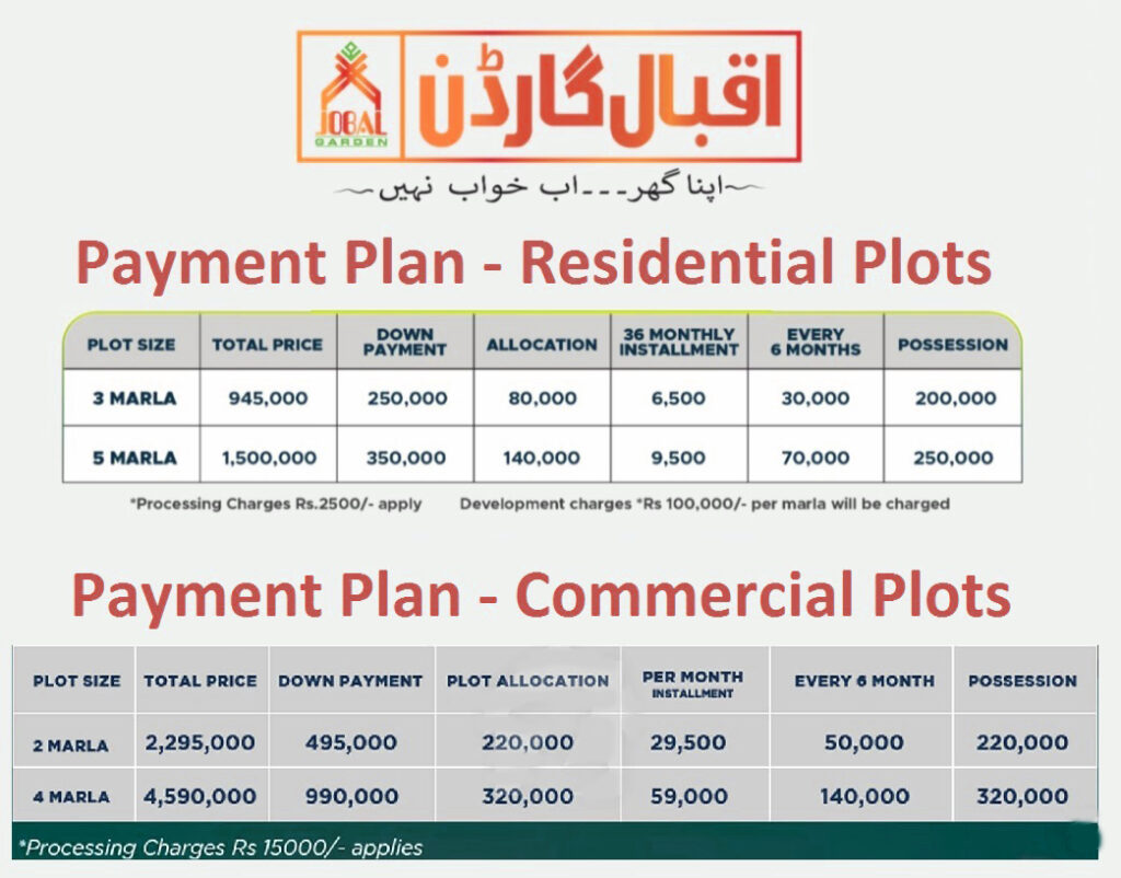 Payment-Plan-and-Price-Iqbal-Graden-Lahore