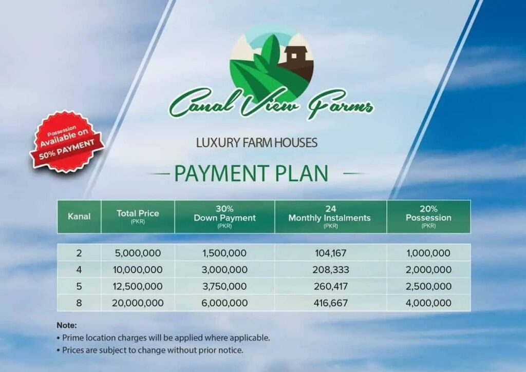 Payment-Plan-and-Price-Plan-Canal-View-Farms-Lahore
