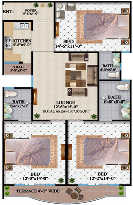 TYPE-A-3-BED-apartment-Layout-plan-The-HL-Jinnah-Residencia
