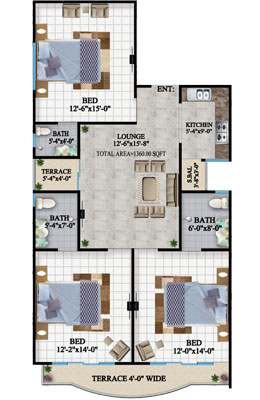 TYPE-A1-3-BED-apartment-Layout-plan-The-HL-Jinnah-Residencia