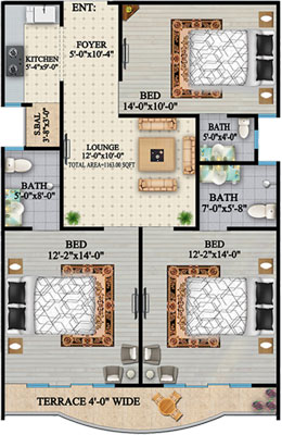 TYPE-A2-3-BED-apartment-Layout-plan-The-HL-Jinnah-Residencia