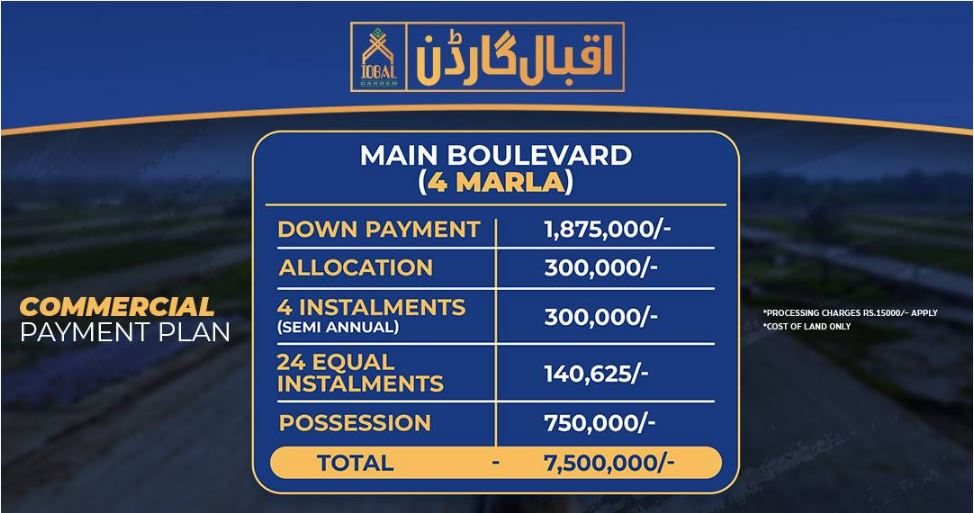 commercial plot Payment plan Iqbal Garden lahore