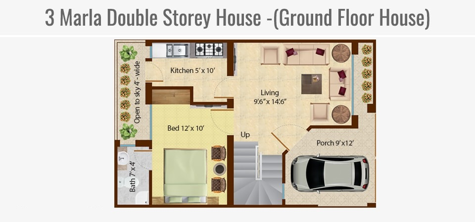 3-marla-double-storey-house-ground-floor-map-Omega-Homes-Lahore