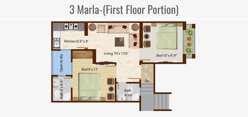 3-marla-first-floor-portion-Map-Omega-Homes-Lahore