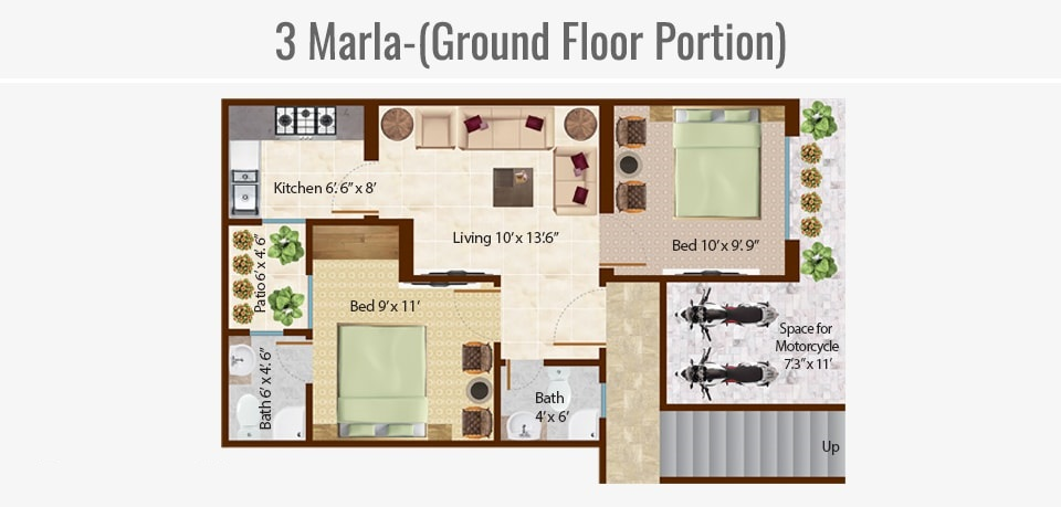 3-marla-ground-floor-portion-Map-Omega-Homes-Lahore