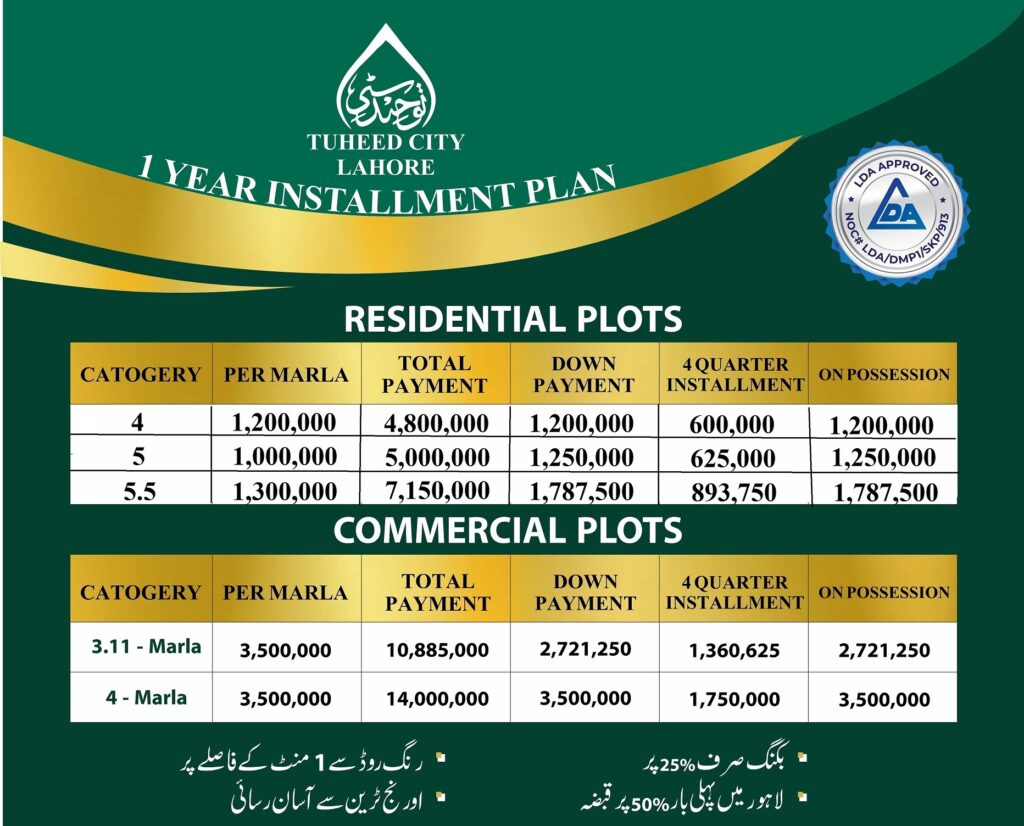 Payment-Plan-and-Price-Touheed-city-Lahore