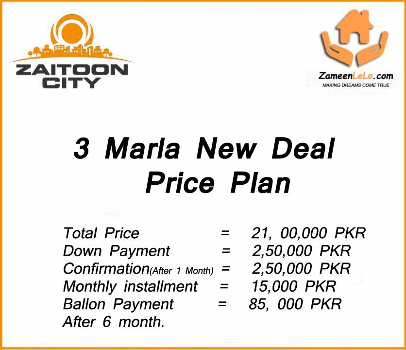 Price-Plan-New-Deal-Zaitoon-New-City-Lahore