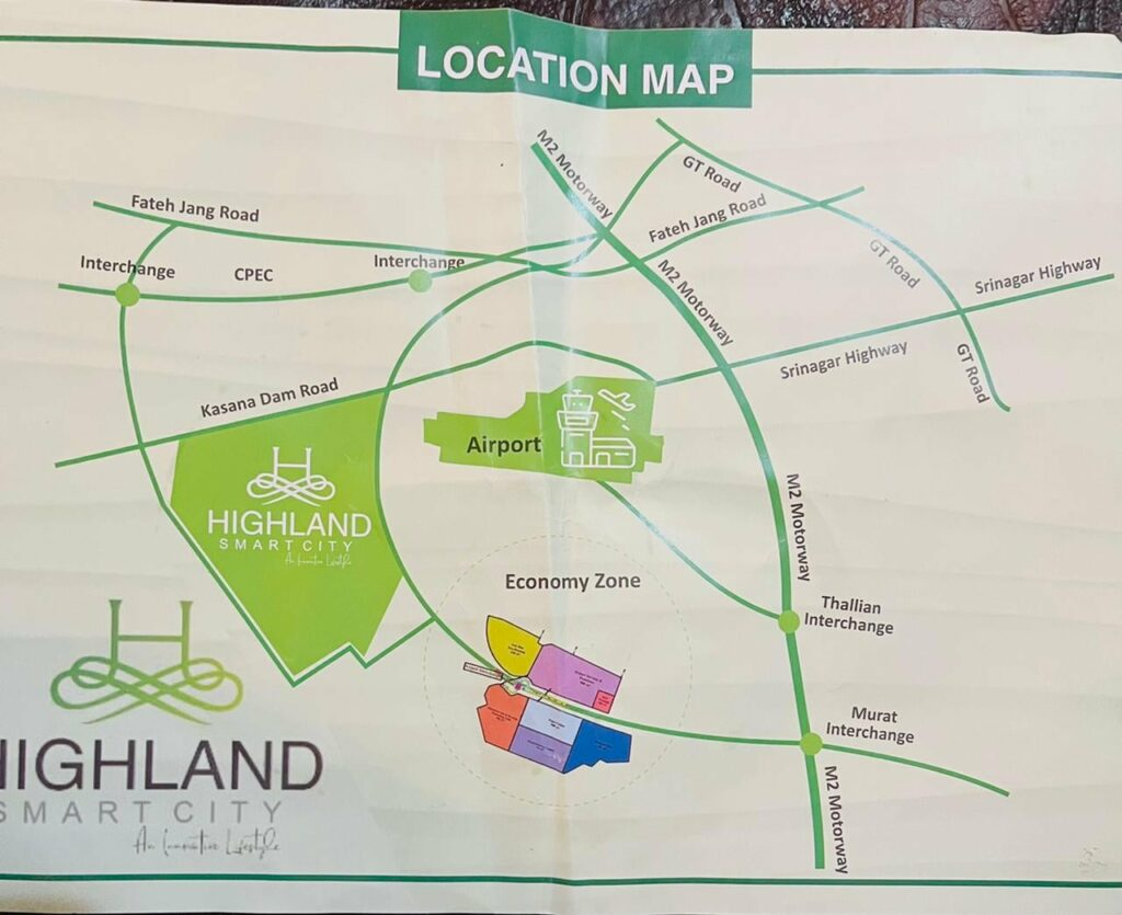map High Land Smart City Islamabad