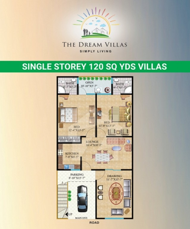 Floor-Plan-single-storey-the-dream-villas-karachi