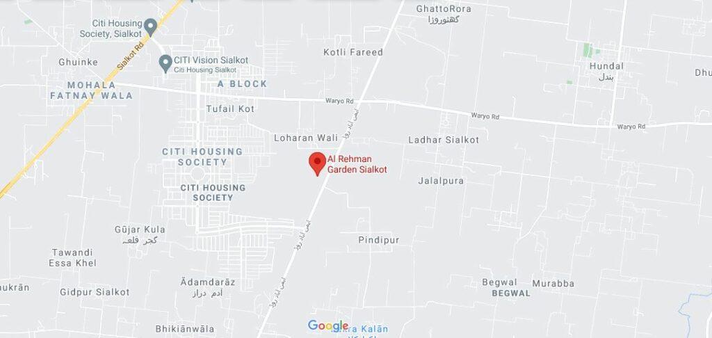 Location-Map-Al-Rehman-Garden-Sialkot