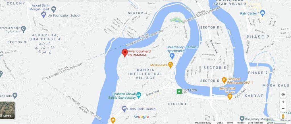 Location-Map-River-Courtyard-rawalpindi-islamabad