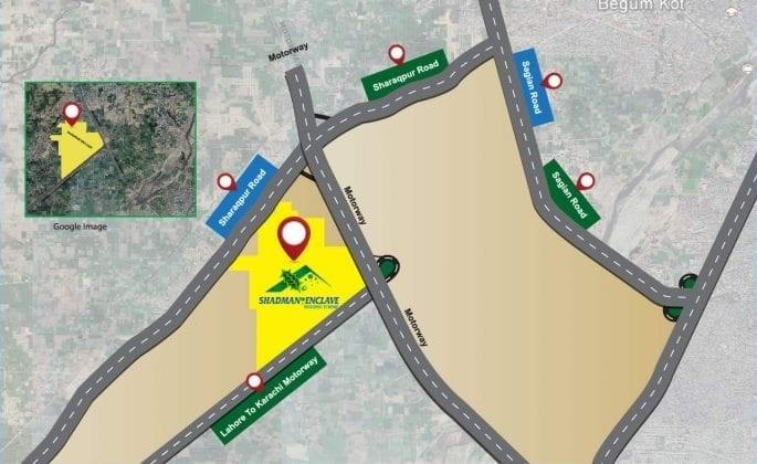 location-map-Shadman-Enclave-Housing-Scheme-lahore