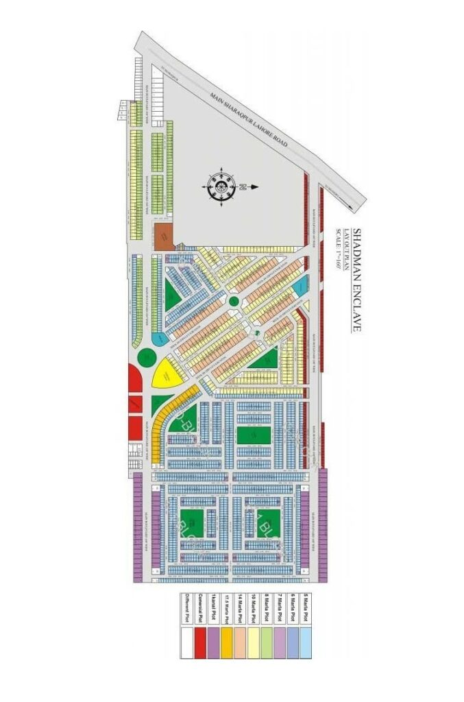 shadman enclave lahore Master plan map